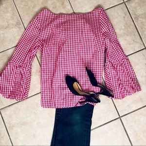 LAUNDRY PINK/WHITE CHECKERED BLOUSE